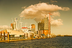 Hamburg, View to Elbe Philharmonic Hall with clouds Royalty Free Stock Images