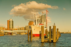 Hamburg, View to Elbe Philharmonic Hall with clouds Stock Photo