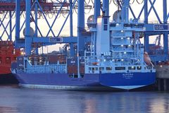 Hamburg-Waltershof - Container vessel at terminal Royalty Free Stock Image