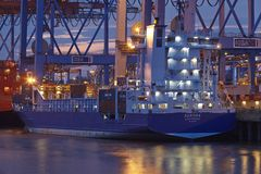 Hamburg-Waltershof - Container vessel at terminal Royalty Free Stock Photo