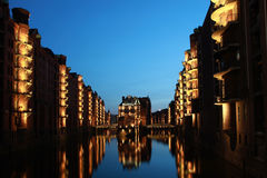 Hamburg warehouse district. The Hamburg warehouse district (German Speicherstadt) is the world's biggest warehouse district royalty free stock image