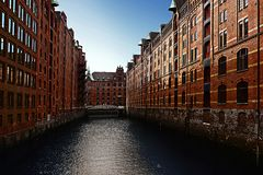 The Hamburg warehouse district. The Speicherstadt, or warehouse district, in Hamburg Germany Stock Images