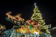 Hamburg Weihnachtsmarkt, Tyskland Arkivbild
