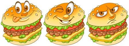 hamburgare hamburgare cheeseburger Pommes frites-, hamburgare- och ketchuphjärta royaltyfri illustrationer