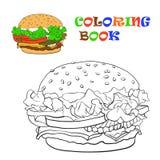 Hamburgare färgläggningbok också vektor för coreldrawillustration Royaltyfri Bild