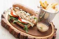 Hamburgare för feg smörgås för vete, stekte potatisar, senapsgult sås Se Arkivbild