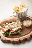 Hamburgare för feg smörgås för vete, stekte potatisar, senapsgult sås Se royaltyfri bild