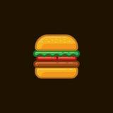 Hamburgare för vektorsymbolssmörgås med kött och grönsaker på mörk bakgrund Arkivfoton