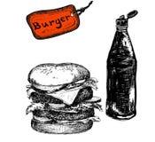 Hamburgare med ketchup Arkivfoton