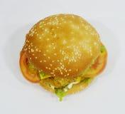 Hamburgare - stor saftig hamburgare på vit bakgrund - brännboll Royaltyfri Bild