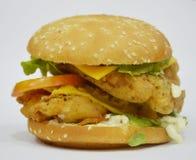 Hamburgare - stor saftig hamburgare på vit bakgrund - brännboll Royaltyfri Foto
