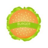 Hamburgaredesignbeståndsdel, logosnabbmat white för serie för smörgås för skräp för bakgrundsmatbild Arkivbilder