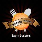 Hamburgaren shoppar - logodesign För att brännmärka klistermärke, garneringprodukt, gradbeteckning, etiketter vektor illustrationer