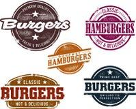 hamburgaren stämplar stiltappning vektor illustrationer