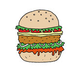 Hamburgarevektorillustration stock illustrationer
