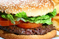 Hamburge. A juicy hamburger close up Stock Photography