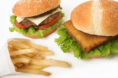 hamburgerów frytki Obraz Stock