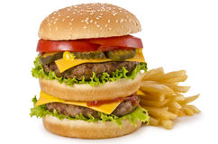Hamburgerów i francuza dłoniaki obraz stock