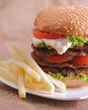 Hamburgerów i francuza dłoniaki Fotografia Stock
