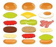 Hamburgerów składniki Ustawiający na Białym tle Zdjęcie Royalty Free