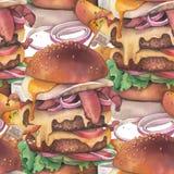 Hamburger énorme d'aquarelle avec des pommes de terre de l'Idaho comme garniture illustration libre de droits