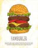 Hamburger énorme d'isolement sur le fond blanc illustration stock