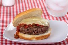 Hamburger überstieg mit geschmolzenem Käse und Salsa Stockbilder