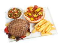 Hamburger. With french fries on white stock photo
