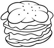 Hamburger. Black and White Cartoon illustration, Vector Stock Photography