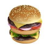 Hamburger. Very high resolution 3d rendering of a big hamburger Stock Photo