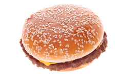 Hamburger. Classic American food removed on a white background Stock Photography