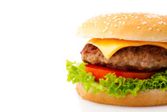 Hamburger. Tasty hamburger on white background Royalty Free Stock Photography