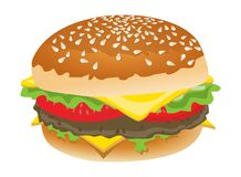 Delicious Hamburger. Isolated on white background. Eps file is available Royalty Free Stock Images
