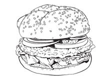 Hamburger. High detailed hand drawn illustration of a hamburger Stock Images