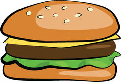 Hamburger. A hamburger consisting of breads, cheese, meat and lettuce Royalty Free Stock Images