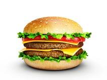 Hamburger. Big tasty hamburger  on a white background Royalty Free Stock Image