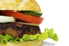 Hamburger. Beef hamburger  on white Royalty Free Stock Photos