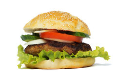 Hamburger. On white background Royalty Free Stock Image