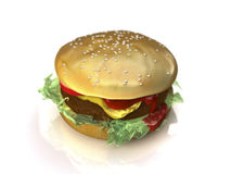 Hamburger 3D illustration. On a white background. Depth of field focus with main focus on front of the burger Stock Photography