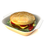 Hamburger 3D illustration. On a white background. Depth of field focus with main focus on front of the burger Royalty Free Stock Photos