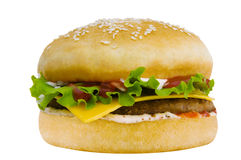 Hamburger. Fresh, tasty hamburger with vegetables and meat Stock Images