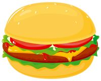 Hamburger. Vector illustration with cheese, tomato and lettuce Stock Photography