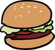 Hamburger. Cartoon food illustration of a hamburger with bun Stock Photos
