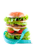 Hamburger. With meter diet/ isolated Royalty Free Stock Images