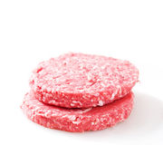 Hamburger. Raw hamburger isolated on white background Royalty Free Stock Photos