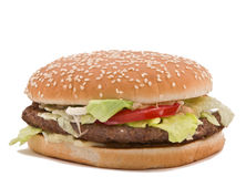 Hamburger. Classic hamburger isolated against a white background Royalty Free Stock Photo