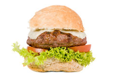 Hamburger. A juicy cheeseburger with tomato and lettuce Royalty Free Stock Photo