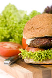 Hamburger. A juicy cheeseburger with tomato and lettuce Stock Photos