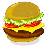Hamburger. Vector drawing of a stuffed sandwich Stock Images