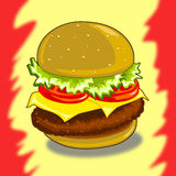 Hamburger. This illustration depicts a sandwich filling on a colored background Stock Photo